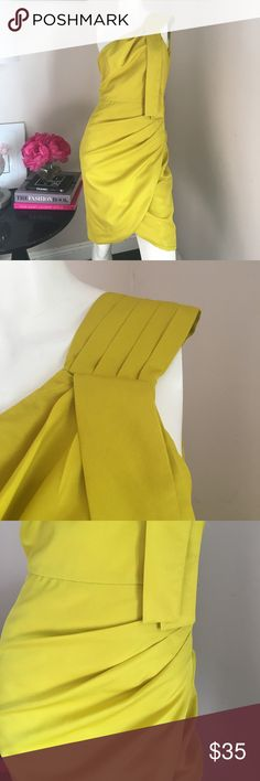 50% OFF Matthew Williamson Yellow Dress Beautiful gently used Matthew Williamson for Macy's yellow One Shoulder lined dress. Dress is made of polyester. Great rouching detail adds to the beauty of this dress. Matthew Williamson Dresses One Shoulder