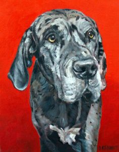 """Sam, 11""""by14"""". Commission. This big boy has a big back yard in Town and Country, Missouri to stretch his legs in.  A nice change from where he was rescued. Apparently a lady had left him tied up in her back yard and he was skin and bones when he was rescued. Nice comeback Sam!"""