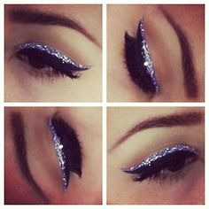 glitter cat eyeliner pin-up rock'n'roll make-up #liner #eyes #shine #sparkle