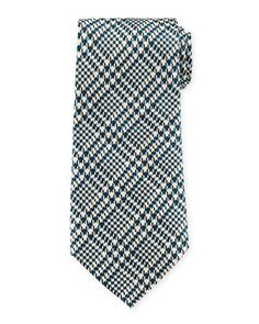 TOM FORD Striped Houndstooth Silk Tie. #tomford #