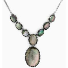 Sterling Silver Shell & Marcasite Oval Link Y Necklace - Polyvore