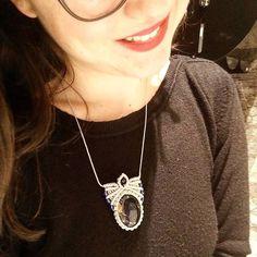 Macrame necklace with Blue Sodalite Gemstone and crystal beads _ Macrame Necklace, Washer Necklace, Pendant Necklace, Lsd Art, Crystal Beads, Crystals, Art Work, Workshop, Gemstones