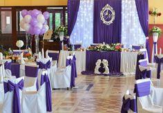 Фиолетовое оформление, Свадебное оформление и флористика, Украшение зала на свадьбу