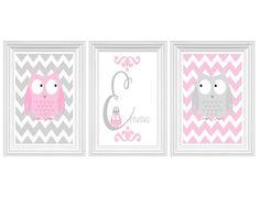 Owl - Nursery Art Personalized Name - Chevron Print Pink Grey Girl's room Wall Art Home Decor Kids room Set of 3 - 8x10 Prints Baby's room on Etsy, $35.00