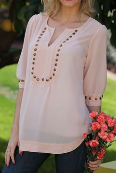 Angie Apparel Blush & Bronze Stud Notch Neck Top