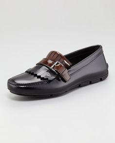 Spazzolato Two-Tone Kiltie Driver by Prada at Neiman Marcus. Prada Shoes, Men's Shoes, Shoe Boots, Dress Shoes, Driving Loafers, Driving Shoes, Boat Accessories, Prada Men, Womens Fashion Sneakers