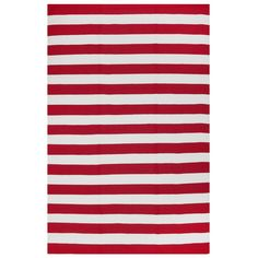 Add a pop of pattern to your living room or patio with this stylish hand-woven rug, showcasing a red and white stripe print.Product: ...