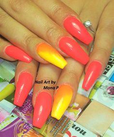 Neon Coral summer nail art