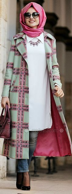 Kaban Mint Gamze PolatEkose Kaban M Tesettür Kaban Modelleri 2020 # Islamic Fashion, Muslim Fashion, Modest Fashion, Girl Fashion, Fashion Outfits, Moslem, Gilet Long, Hijab Trends, Modern Hijab