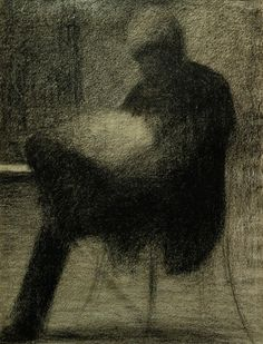Georges Seurat, Man Reading (1884) - Chalk on paper