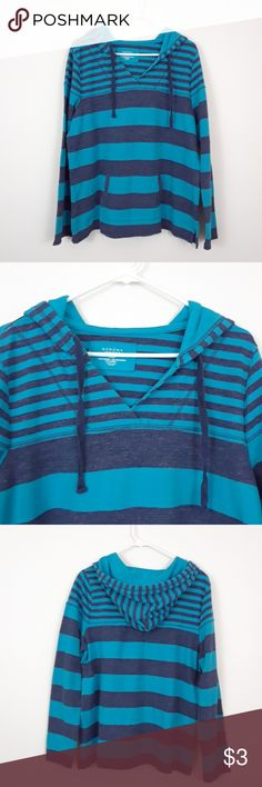 SONOMA XL BLUE STRIPED PULLOVER HOODIE SWEATSHIRT Size XL 55% cotton  35% polyester  11% rayon Drawstring  Has pockets in front Sonoma Tops Sweatshirts & Hoodies