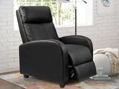 Homall Recliner Chair Padded Seat PU Leather for Living Room Single Sofa Recliner Modern Recliner Seat Club Chair Home Theater Seating (Black) Modern Recliner Chairs, Best Recliner Chair, Leather Recliner Chair, Sofa Chair, Leather Sofa, Farmhouse Living Room Furniture, Living Room Chairs, Contemporary Recliners, Cool Chairs
