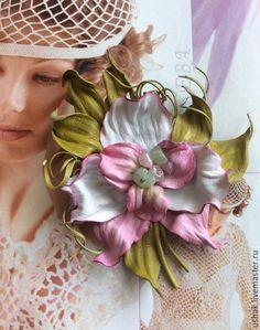Броши ручной работы. Ярмарка Мастеров - ручная работа. Купить СОБЛАЗН орхидея из кожи. Handmade. Бледно-розовый, цветок из кожи