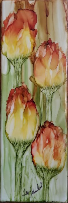 Tulips in alcohol ink on 4x12 ceramic tile by Tina