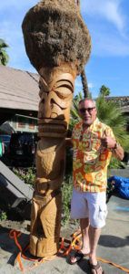 Artist Tiki Ray Kieffer sees one of his tikis installed at the Caliente Tropics in Palm Springs during Tiki Caliente 2016. (Photo by Kari Hendler of Poly Hai)