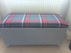 Lloyd Loom Ottoman repainted in colour similar to F&B Pavillion Grey