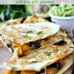 Black Bean & Butternut Squash Quesadillas, I added roasted kale to mine and they were amazing! Served with Sour Cream and Avocado