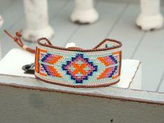 Bohemian boho Southwestern Tribal Bead Loom Woven Bracelet, Seed Bead friendship cuff bracelet