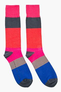 MARC BY MARC JACOBS Tall Fuchsia & Red Stripey Socks