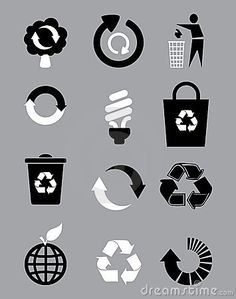 black and white recycle signs - it must look cool on your wall! |  typography / graphic design: Bakelyt | dreamstime |