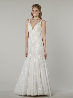 MZ2 by Mark Zunino for Kleinfeld 74568  Ivory lace fit and flare with v-neckline, tank straps and princess seams.