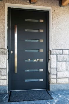 Viena - modern exterior door complete with door frame and handles. Comes in different finishes: white, silver, gray, brown & black.