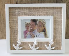 White Anchor 3.5 x 5 Picture Frame - Nautical Frames & Albums - California Seashell Company