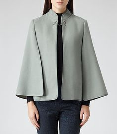 Wow, this is stunning...Womens Dark Mint Tailored Flare Cape - Reiss Vreeland