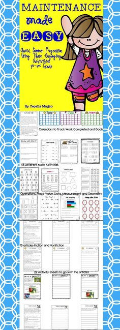 This 92 page product is perfect for first graders continuing onto the second grade. Everyone knows students regress over the summer without maintaining the skills they've attained the previous school year. These literacy and math activities are perfect to avoid the summer slump.