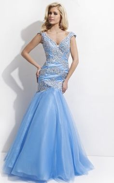 Mermaid V-neck Cap Sleeves Appliques Beading Sweep Train 2016 Long Tulle Prom Dresses Pretty Prom Dresses, Tulle Prom Dress, Dress P, Evening Dresses, Formal Dresses, Cap Sleeves, Beauty Hacks, V Neck, Lady