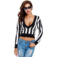 CHICUU - CHICUU Vertical Striped Deep V-Neck Long Sleeves Pullover - AdoreWe.com
