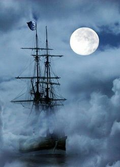spooky ghost ship sailing through the fog under a full moon Tall Ships, Beautiful Moon, Beautiful Places, Ghost Ship, Pirate Life, Sail Away, Pirates Of The Caribbean, Belle Photo, Sailing Ships