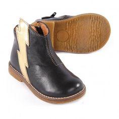 Boots Cuir Eclair Zippées Noir Ocra