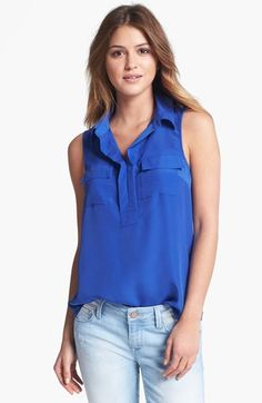 Kensie Mixed Media Sleeveless Blouse available at #Nordstrom