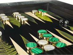 """The Aestate: Trending: Backgammon """"Louisa Table"""" backgammon table with Mother of Pearl and Malachite pieces by Alexandra Llewellyn."""