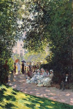 'The Parc Monceau,' Claude Monet, French, oil on canvas; Metropolitan Museum of Art, New York. Monet painted six views of the Parc Monceau: three in 1876 and three in Pierre Auguste Renoir, Monet Paintings, Impressionist Paintings, Landscape Paintings, Claude Monet, Henri Matisse, Artist Monet, Camille Pissarro, Beautiful Paintings