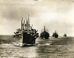 After 1943, fewer and fewer German U-boats caught glimpses of target-rich Allied convoys. Increasingly unfettered, long columns of cargo ships plowed their way safely to Europe and beyond. This one was lugging supplies across the Pacific.