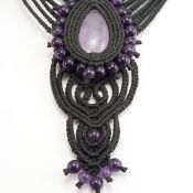 Amethyst macrame necklace. Amethyst beads. Waxed linen. Adjustable with sliding knot.