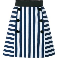 Dolce & Gabbana Stripe A-Line Mini Skirt ($650) ❤ liked on Polyvore featuring skirts, mini skirts, bottoms, saias, blue a line skirt, scalloped skirt, blue skirt, striped a line skirt and vintage mini skirt