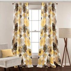 Lush Decor Lush Décor Leah 84-Inch Grommet Top Room Darkening Window Curtain Panel Pair in Yellow/Grey. Gorgeous yellow grey drapes when a touch of pattern is needed and when the lightness of the drapes are needed on the inside along with the room darkening ability. #funkthishouse #afflink #drapes #draperies #yellowdecor