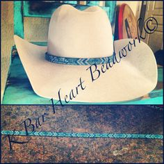 Beaded hat band  K bar heart beadwork. Find me on Facebook!