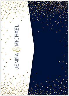 Faux Foil Twlight Stars Pocketfold Wedding Invitation