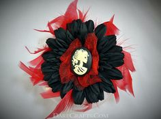 Shirley Hair Flower #DEHF43 Pin up hair flower in black and red with a skeletal cameo center and red feathers www.darecrafts.com #darecrafts #creativelife #inspiration #costuming #divergent #embellishments