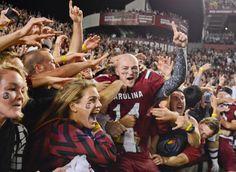 South Carolina quarterback Connor Shaw celebrates the team's 19-14 win over Florida. (Richard Shiro/AP)