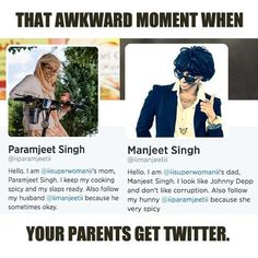 So I just looked this up on Twitter. I'm still not sure if it's Lilly Singh's actual parents or her being her parents...but whatever it is, I love it and enjoy their tweets. XD