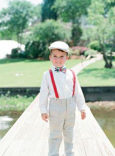 suspenders and bow tie on the ring bearer | Melissa Schollaert #wedding