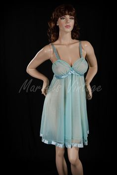 ce230decb9 Vintage Val Mode Lingerie Baby Blue Double Chiffon Nightgown Size Medium  Large Sweep Ribbon Trim