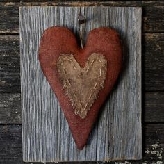 Primitive Valentine Heart Barn Wood Wall by rockriverstitches, $18.00