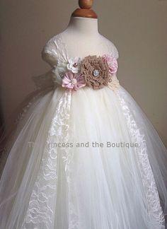 Flower girl dress, Burlap tutu dress, baby tutu dress, toddler tutu dress, newborn-24m,3t,4t,5t, birthday,wedding