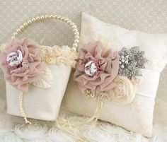 Flower Girl Basket and Ring Bearer Pillow Set in Ivory and Blush with Lace, Pearls and Crystal Brooch on Etsy, $190.00